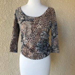 Neima Marcus Cashmere Sweater Animal Print S